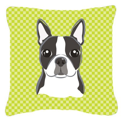 Checkered Boston Terrier Indoor/Outdoor Throw Pillow Size: 18 H x 18 W x 5.5 D