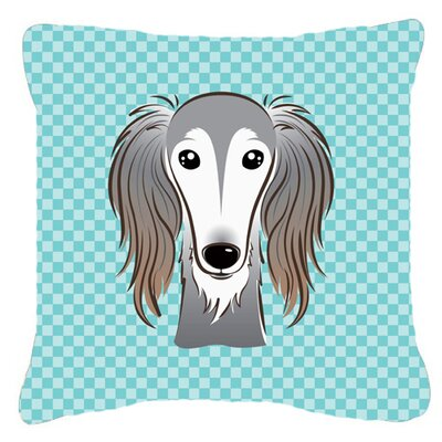 Checkerboard Saluki Indoor/Outdoor Throw Pillow Color: Blue, Size: 14 H x 14 W x 4 D
