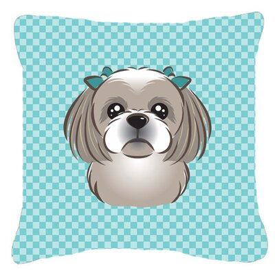 Checkerboard Gray Silver Shih Tzu Indoor/Outdoor Throw Pillow Color: Blue, Size: 14 H x 14 W x 4 D