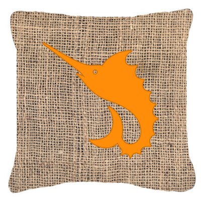Swordfish Burlap Indoor/Outdoor Throw Pillow Size: 18 H x 18 W x 5.5 D, Color: Orange