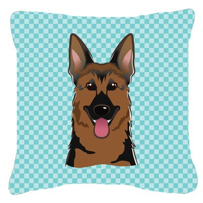 Checkerboard German Shepherd Indoor/Outdoor Throw Pillow Size: 14 H x 14 W x 4 D, Color: Blue