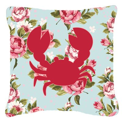 Crab Shabby Elegance Blue Roses Indoor/Outdoor Throw Pillow Size: 14 H x 14 W x 4 D