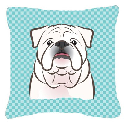 Checkerboard White English Bulldog Indoor/Outdoor Throw Pillow Color: Blue, Size: 18 H x 18 W x 5.5 D