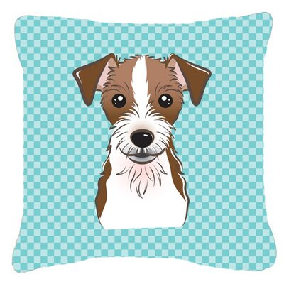 Checkerboard Jack Russell Terrier Indoor/Outdoor Throw Pillow Size: 14 H x 14 W x 4 D, Color: Blue