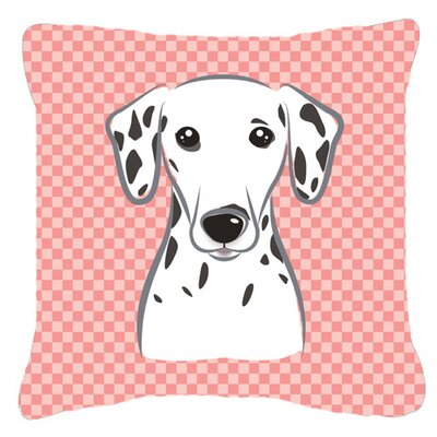 Checkerboard Dalmatian Indoor/Outdoor Throw Pillow Color: Pink, Size: 14 H x 14 W x 4 D