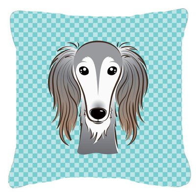 Checkerboard Saluki Indoor/Outdoor Throw Pillow Color: Blue, Size: 18 H x 18 W x 5.5 D