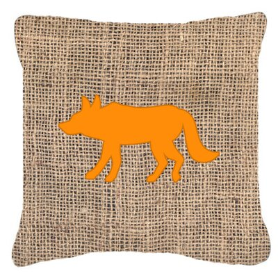 Wolf Burlap Indoor/Outdoor Throw Pillow Size: 14 H x 14 W x 4 D, Color: Orange