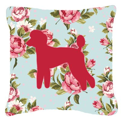 Poodle Shabby Elegance Blue Roses Indoor/Outdoor Throw Pillow Size: 14 H x 14 W x 4 D