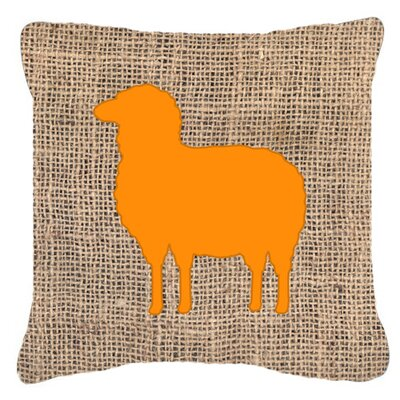 Sheep Burlap Indoor/Outdoor Throw Pillow Size: 14 H x 14 W x 4 D, Color: Orange