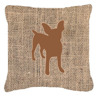 Chihuahua Burlap Fade Resistant Indoor/Outdoor Throw Pillow Size: 18 H x 18 W x 5.5 D, Color: Brown