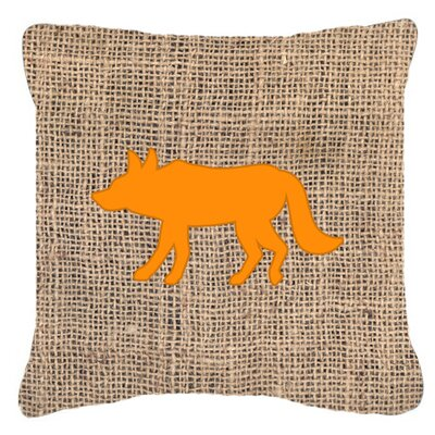 Wolf Burlap Indoor/Outdoor Throw Pillow Size: 18 H x 18 W x 5.5 D, Color: Orange