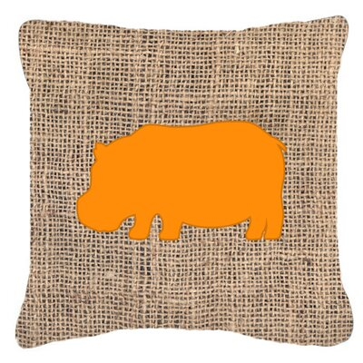 Hippopotamus Burlap Indoor/Outdoor Throw Pillow Size: 18 H x 18 W x 5.5 D, Color: Orange