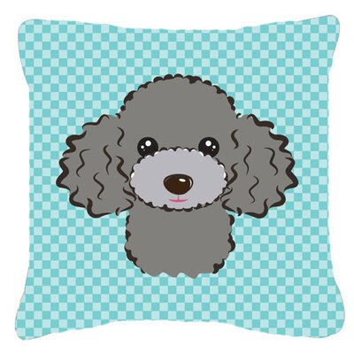 Checkerboard Silver Gray Poodle Indoor/Outdoor Throw Pillow Color: Blue, Size: 14 H x 14 W x 4 D