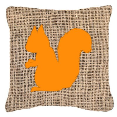 Squirrel Burlap Indoor/Outdoor Throw Pillow Color: Orange, Size: 14 H x 14 W x 4 D