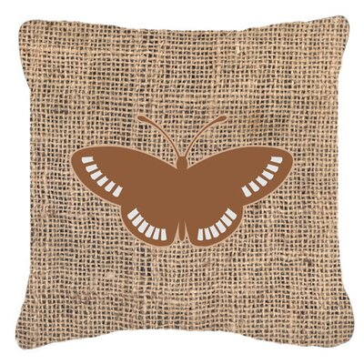 Butterfly Burlap Square Mildew Resistant Indoor/Outdoor Throw Pillow Size: 18 H x 18 W x 5.5 D, Color: Brown