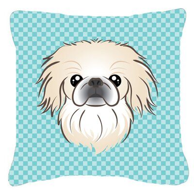 Checkerboard Pekingese Indoor/Outdoor Throw Pillow Color: Blue, Size: 14 H x 14 W x 4 D