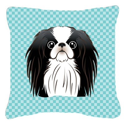 Checkerboard Japanese Chin Indoor/Outdoor Throw Pillow Color: Blue, Size: 14 H x 14 W x 4 D