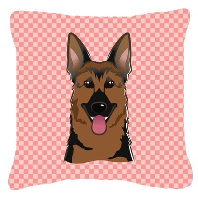Checkerboard German Shepherd Indoor/Outdoor Throw Pillow Color: Pink, Size: 14 H x 14 W x 4 D