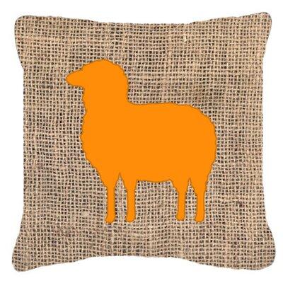 Sheep Burlap Indoor/Outdoor Throw Pillow Size: 18 H x 18 W x 5.5 D, Color: Orange