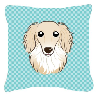 Checkerboard Longhair Creme Dachshund Indoor/Outdoor Throw Pillow Color: Blue, Size: 14 H x 14 W x 4 D
