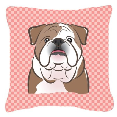 Checkerboard English Bulldog Indoor/Outdoor Throw Pillow Color: Pink, Size: 18