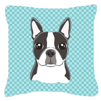 Checkerboard Boston Terrier Indoor/Outdoor Throw Pillow Color: Blue, Size: 14 H x 14 W x 4 D