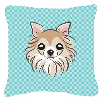 Checkerboard Chihuahua Indoor/Outdoor Throw Pillow Color: Blue, Size: 14