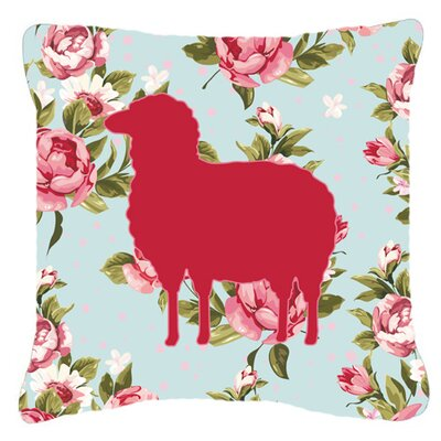 Sheep Shabby Elegance Blue Roses Indoor/Outdoor Throw Pillow Size: 14 H x 14 W x 4 D