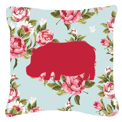 Hippopotamus Shabby Elegance Blue Roses Indoor/Outdoor Throw Pillow Size: 18 H x 18 W x 5.5 D