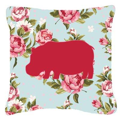Hippopotamus Shabby Elegance Blue Roses Indoor/Outdoor Throw Pillow BB1130-RS-BU-PW1818