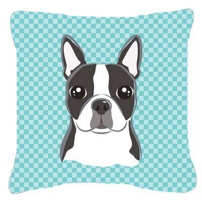 Checkerboard Boston Terrier Indoor/Outdoor Throw Pillow Color: Blue, Size: 18 H x 18 W x 5.5 D