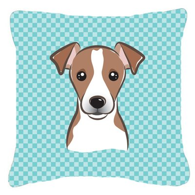 Checkerboard Jack Russell Terrier Indoor/Outdoor Throw Pillow Color: Blue, Size: 14 H x 14 W x 4 D