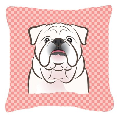 Checkerboard White English Bulldog Indoor/Outdoor Throw Pillow Color: Pink, Size: 14 H x 14 W x 4 D