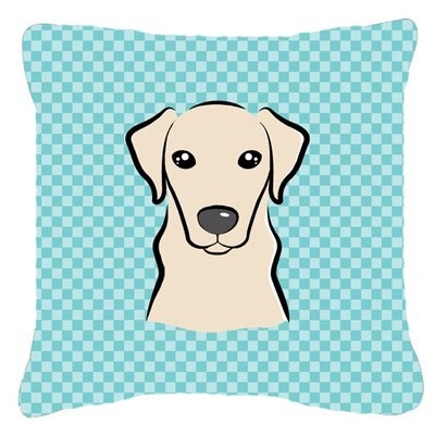 Checkerboard Yellow Labrador Indoor/Outdoor Throw Pillow Color: Blue, Size: 14 H x 14 W x 4 D