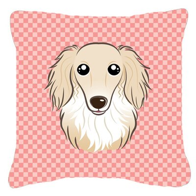 Checkerboard Longhair Creme Dachshund Indoor/Outdoor Throw Pillow Color: Pink, Size: 14 H x 14 W x 4 D