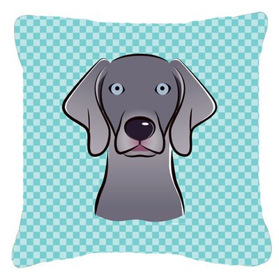 Checkerboard Weimaraner Indoor/Outdoor Throw Pillow Color: Blue, Size: 14 H x 14 W x 4 D