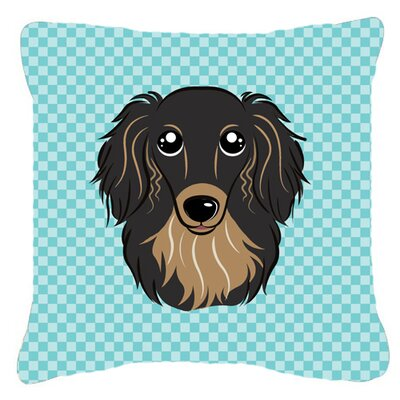 Checkerboard Longhair Black and Tan Dachshund Indoor/Outdoor Throw Pillow Color: Blue, Size: 14 H x 14 W x 4 D