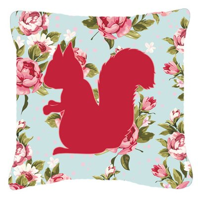 Squirrel Shabby Elegance Blue Roses Indoor/Outdoor Throw Pillow BB1119-RS-BU-PW1818