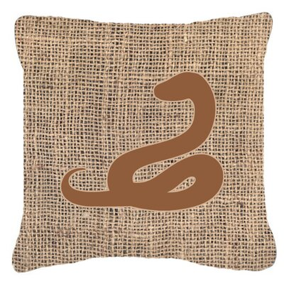 Snake Burlap Indoor/Outdoor Throw Pillow Size: 14 H x 14 W x 4 D, Color: Brown