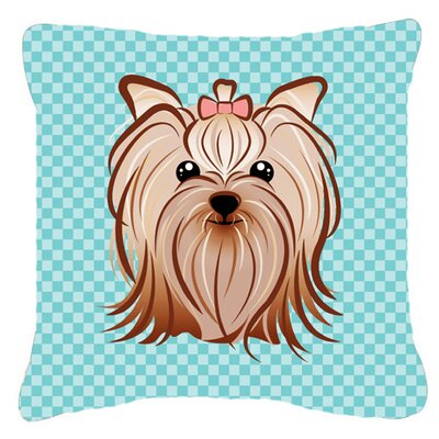 Checkerboard Yorkie Yorkishire Terrier Indoor/Outdoor Throw Pillow Color: Blue, Size: 14 H x 14 W x 4 D