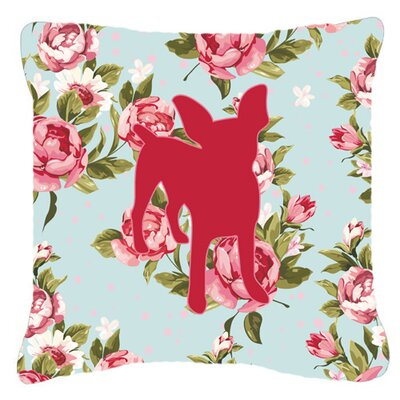 Chihuahua Shabby Elegance Blue Roses Indoor/Outdoor Throw Pillow Size: 18 H x 18 W x 5.5 D
