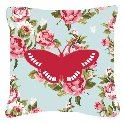 Butterfly Shabby Elegance Blue/Red Roses Square Indoor/Outdoor Fabric Throw Pillow Size: 14