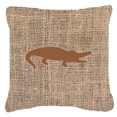 Alligator Burlap Indoor/Outdoor Throw Pillow Size: 14 H x 14 W x 4 D, Color: Brown