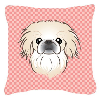 Checkerboard Pekingese Indoor/Outdoor Throw Pillow Color: Pink, Size: 14 H x 14 W x 4 D