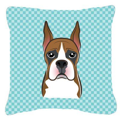 Checkerboard Boxer Indoor/Outdoor Throw Pillow Color: Blue, Size: 14 H x 14 W x 4 D