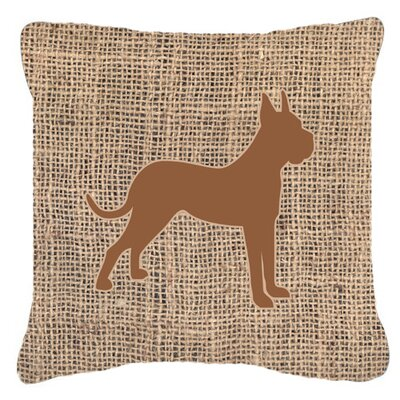 Boxer Burlap Indoor/Outdoor Throw Pillow Size: 14 H x 14 W x 4 D, Color: Brown