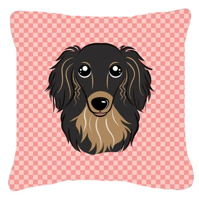 Checkerboard Longhair Black and Tan Dachshund Indoor/Outdoor Throw Pillow Color: Pink, Size: 14 H x 14 W x 4 D