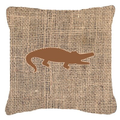 Alligator Burlap Indoor/Outdoor Throw Pillow Size: 18 H x 18 W x 5.5 D, Color: Brown