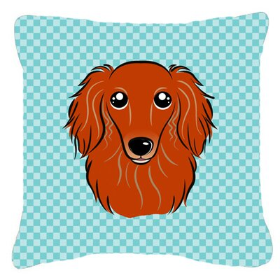 Checkerboard Longhair Red Dachshund Indoor/Outdoor Throw Pillow Color: Blue, Size: 14 H x 14 W x 4 D