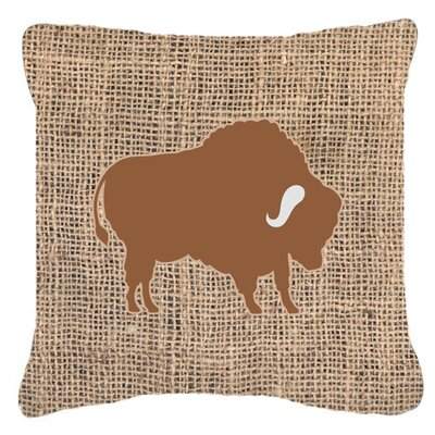 Buffalo Burlap Indoor/Outdoor Throw Pillow Size: 18 H x 18 W x 5.5 D, Color: Brown
